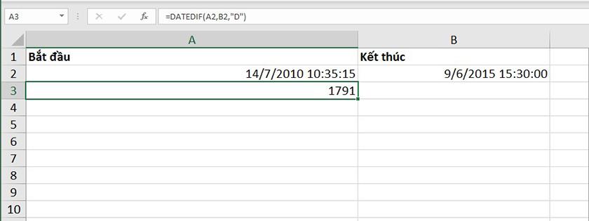 Sử dụng hàm datedif trong Excel 2010 để tính số ngày chênh lệch