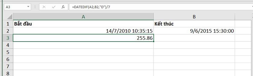 Sử dụng hàm datedif trong excel để tính số tuần chênh lệch