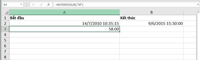 Sử dụng hàm DATEDIF trong excel 2007 để tính số tháng chênh lệch