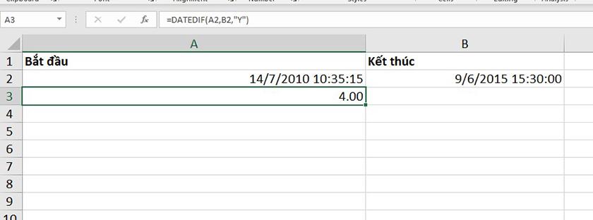 Sử dụng hàm DATEDIF để tính tổng số năm
