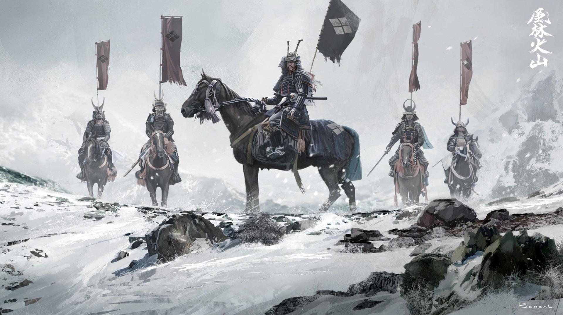 Hình nền PC 4k game đẹp nhất - Manga samurai on horse