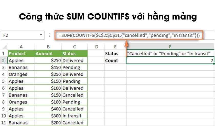 Cách sử dụng hàm đếm có điều kiện trong excel với nhiều tiêu chí (or)