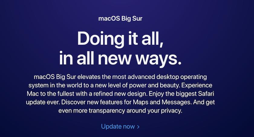 Cập nhật chính thức hệ điều hành MacOS