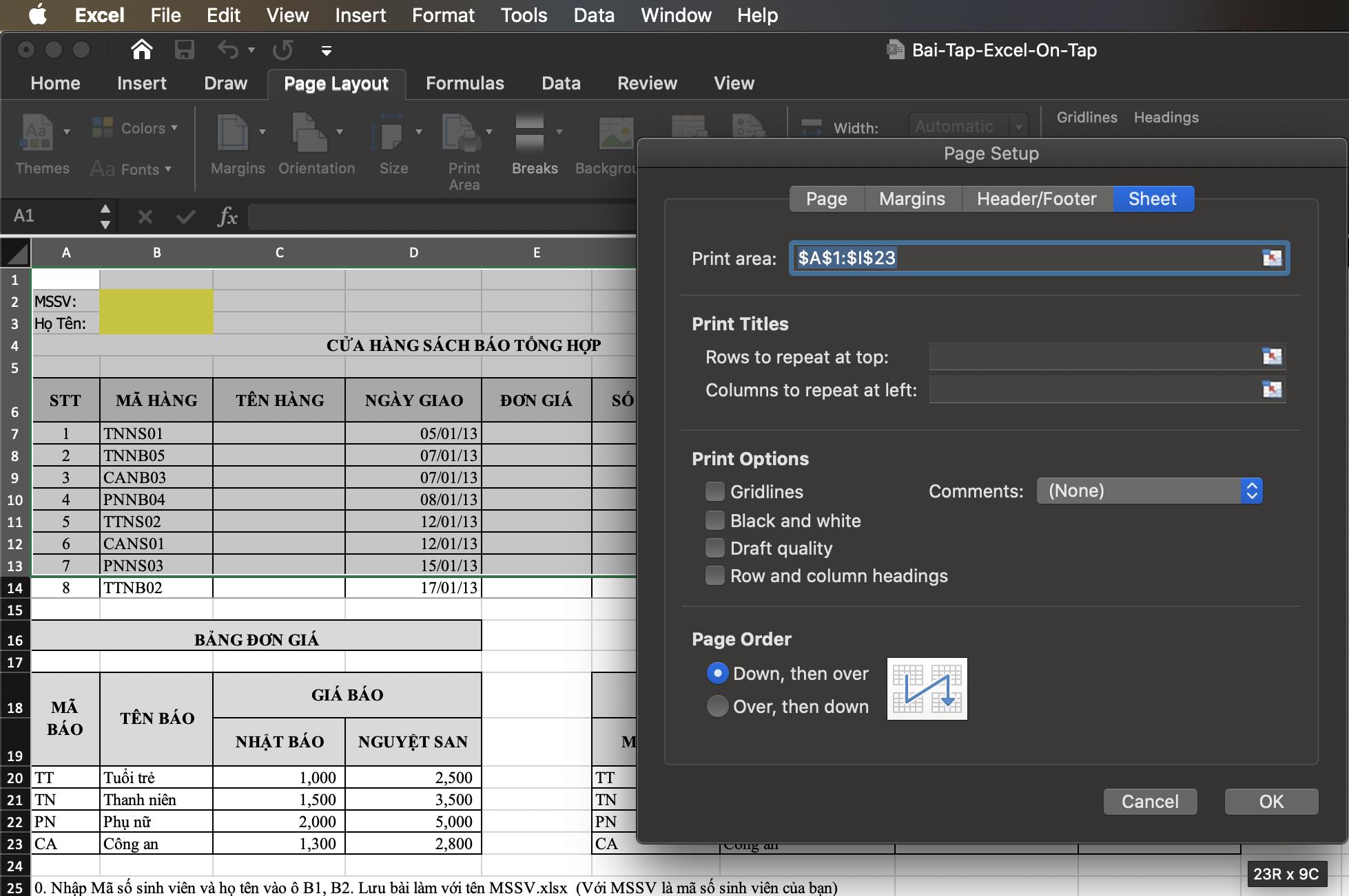 Chọn vùng cần in trên Excel