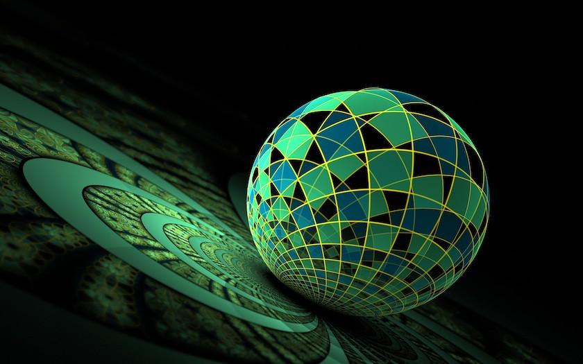 Hình nền, theme desktop 3d quả cầu xanh