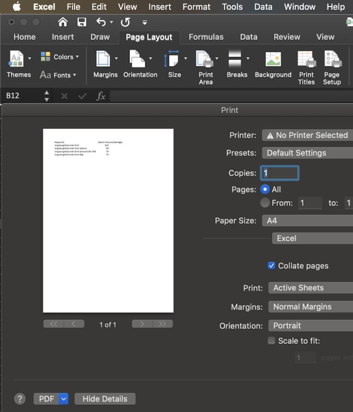 Xem trước bản in file Excel