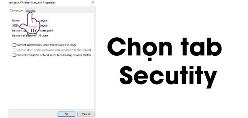 Để xem mật khẩu wifi, khi cửa sổ của Wi-Fi Wireless Network Properties hiện lên. Tại đây, bạn chọn tab Security