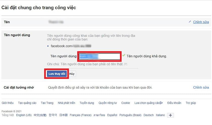 Đổi tên người dùng Facebook