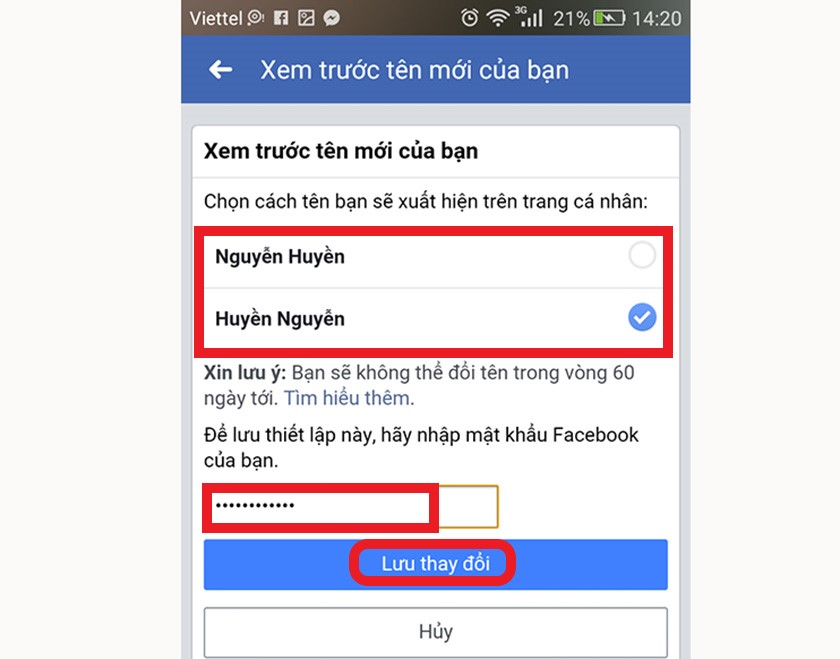 Hướng dẫn đổi tên Facebook
