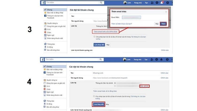 Thiết lập lấy mã xác nhận facebook qua Email