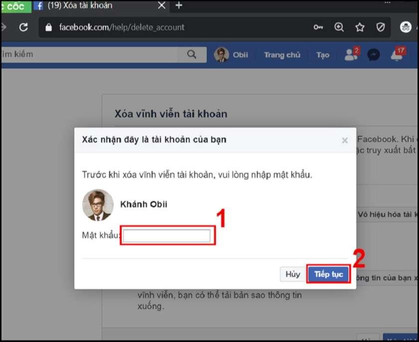 Cách xóa FB trên laptop
