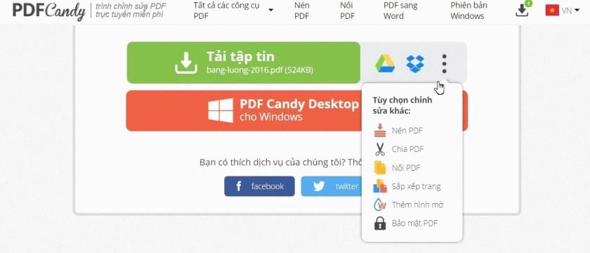 Chuyển đổi đổi file Excel sang PDF qua PDFCandy